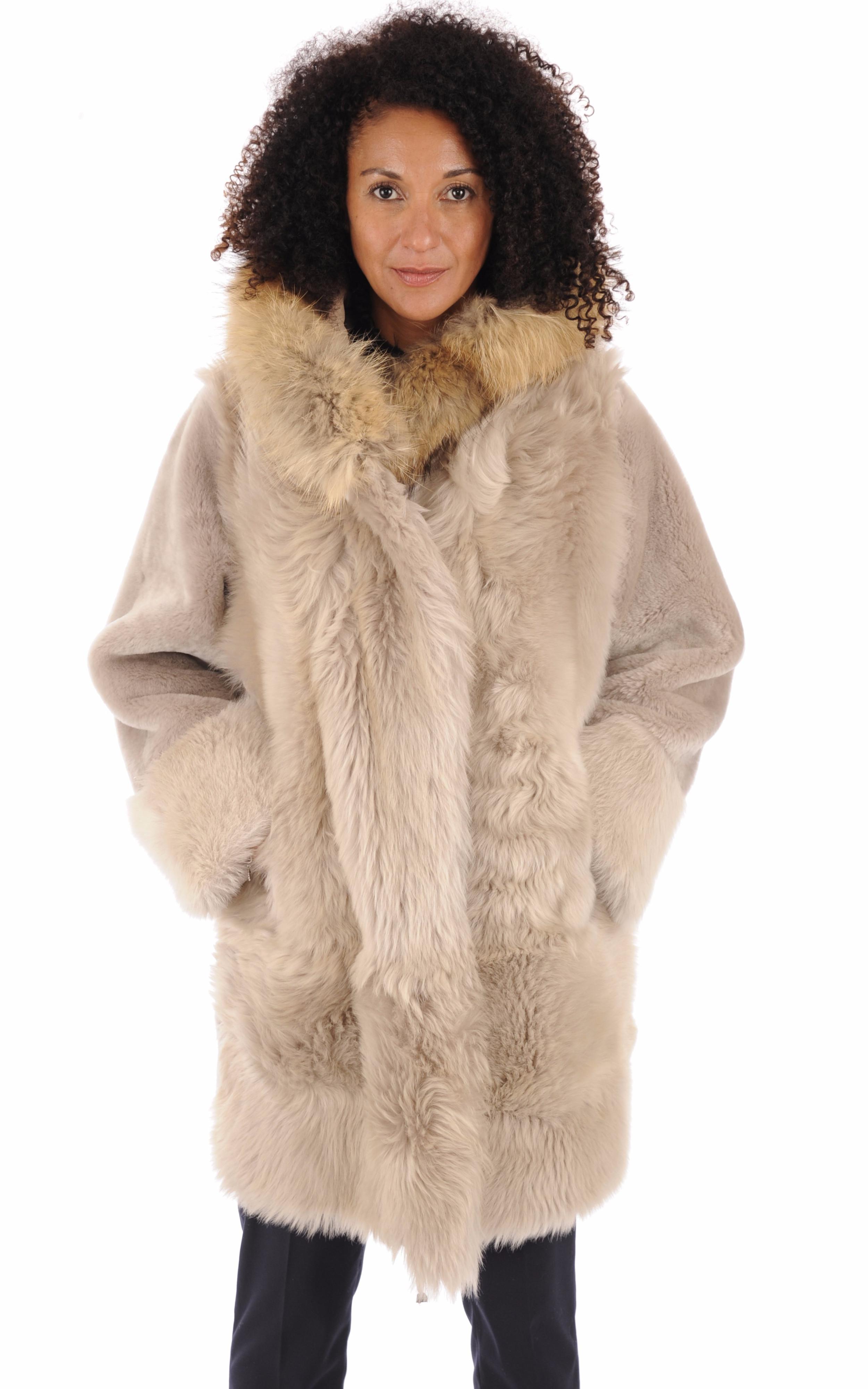Manteau peau lainée beige Anne Delaigle
