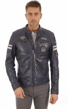 Blouson Motard Bleu Jeans Homme1