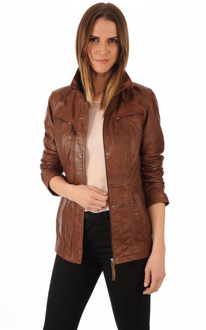 veste cuir marron femme la canadienne la canadienne veste 3 4 cuir marron. Black Bedroom Furniture Sets. Home Design Ideas