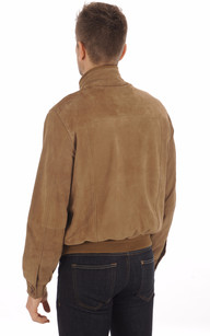 Blouson Cuir Velours Taupe Homme