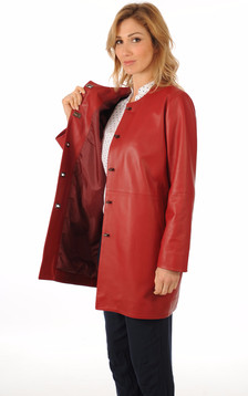 Veste Confortable Cuir Rouge Femme
