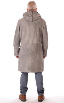 Manteau Peau Lainée Mouton Gris