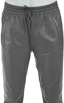 Pantalon jogpant cuir bleu pétrole