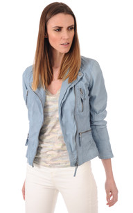 Blouson cuir bleu clair femme