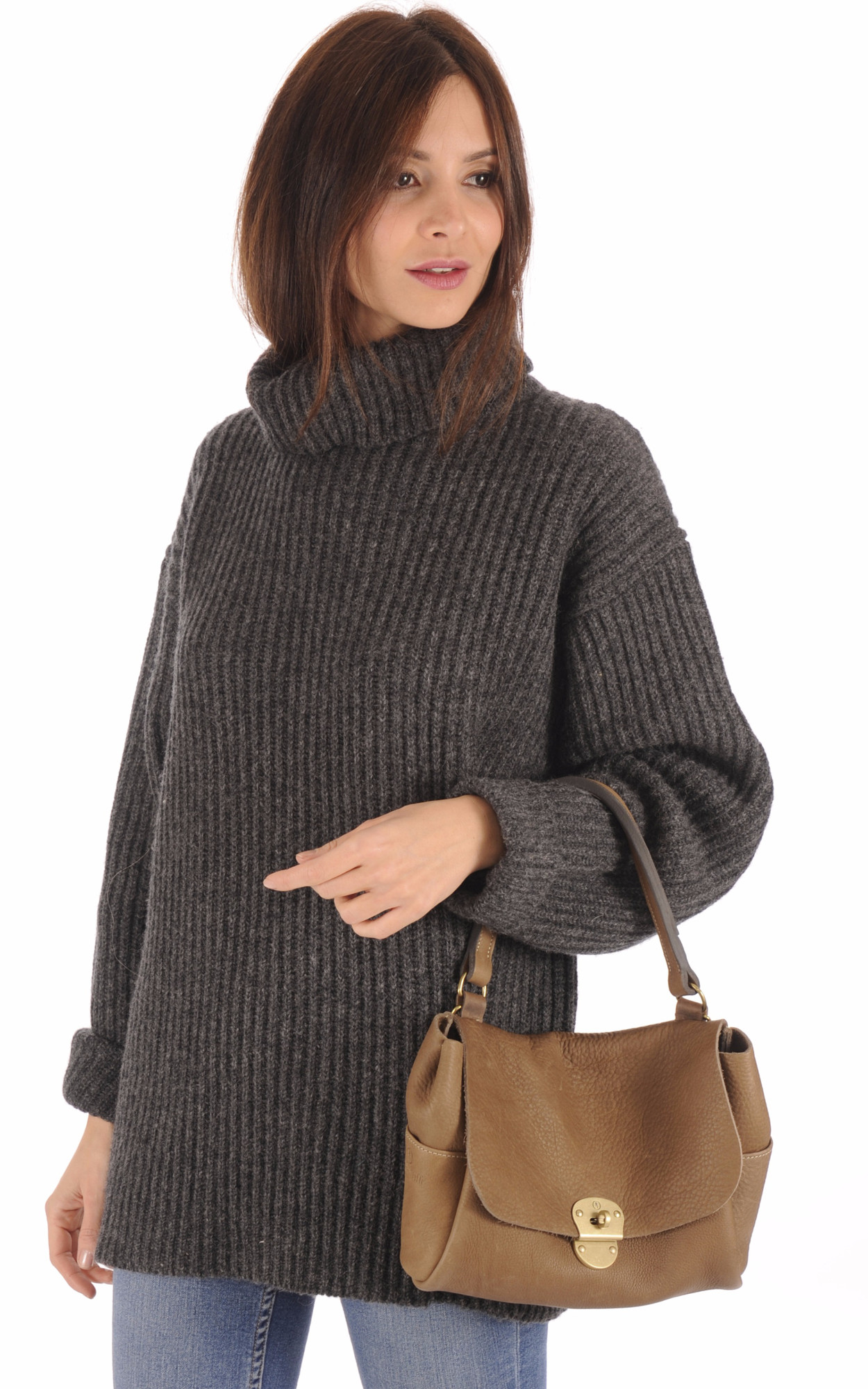 Sac Besace Vachette Taupe1