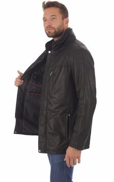 Veste cuir agneau noir homme