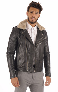 Perfecto Cuir Homme Col Fourrure