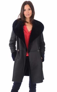 Manteau en mérinos bleu marine1