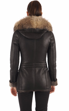 Veste ajustée cuir patiné femme