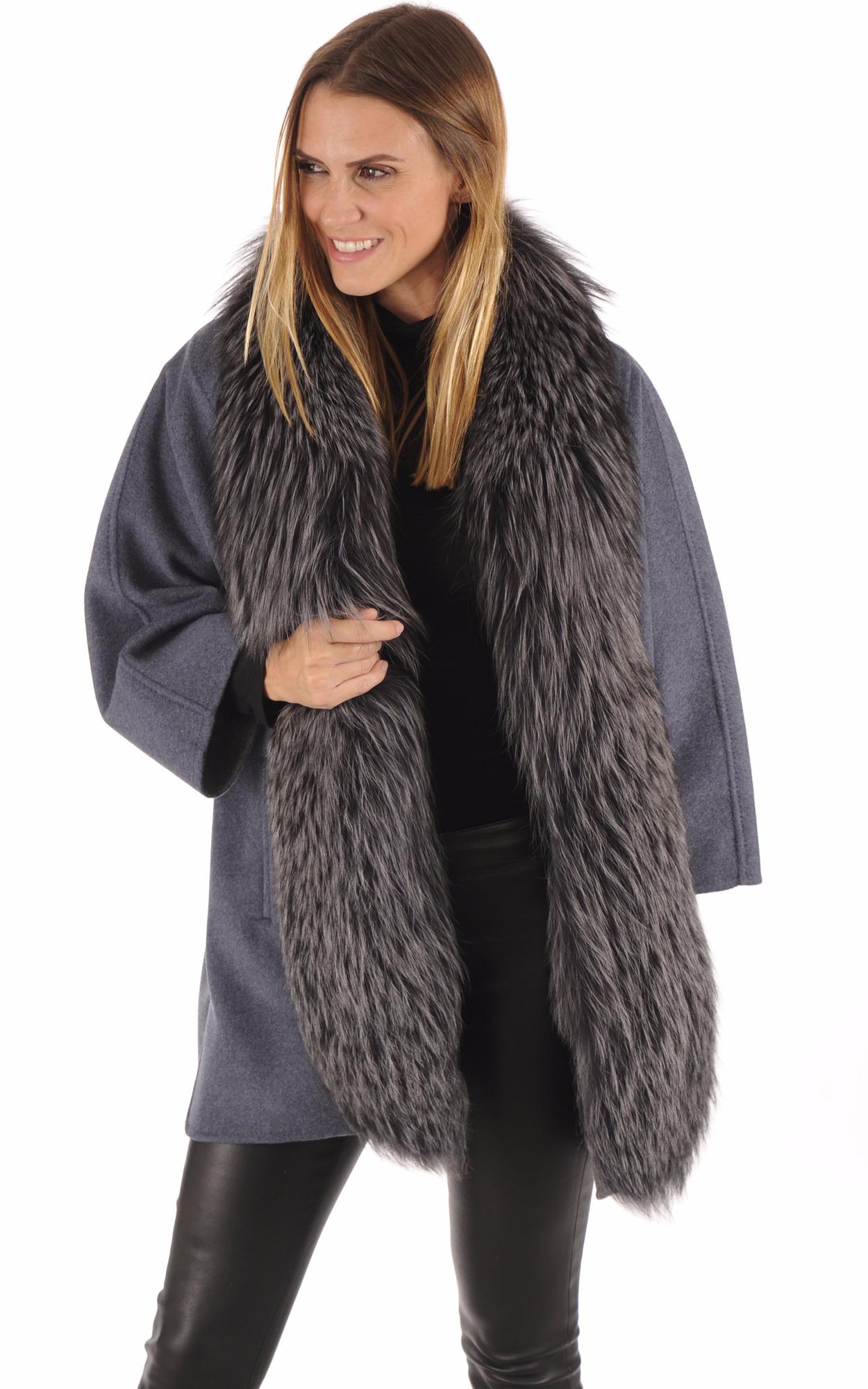 Veste Kimono Renard & Cachemire Bleu-Gris