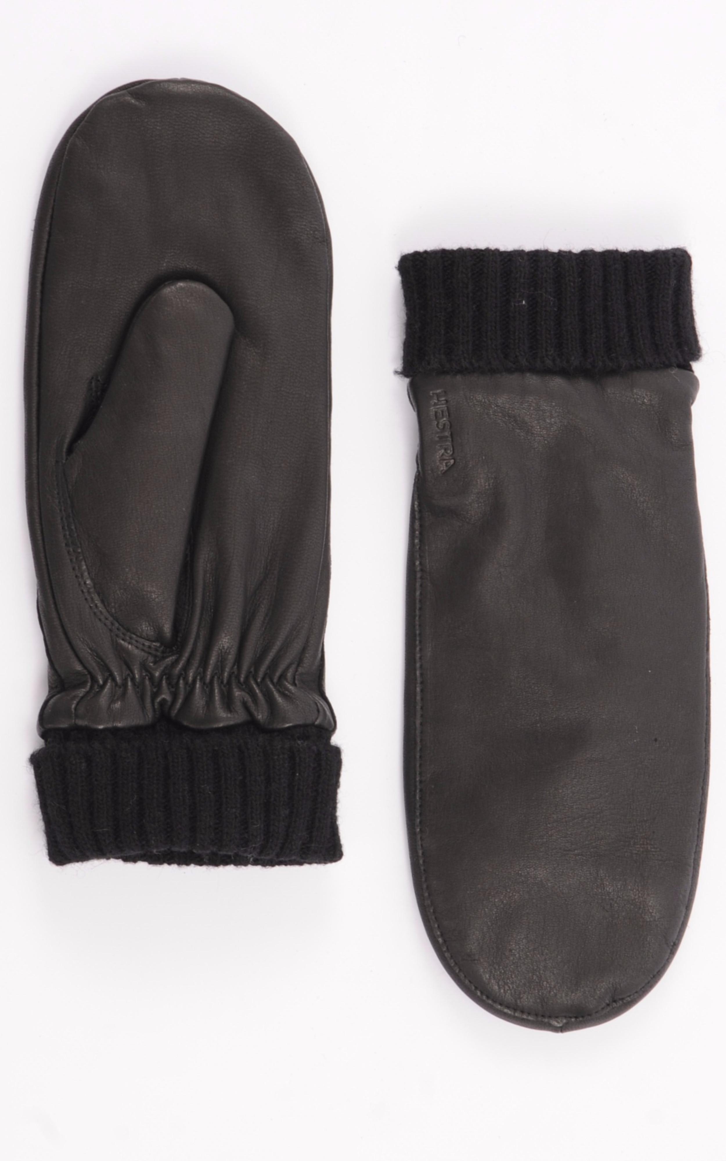 Moufles en cuir cerf noir Hestra