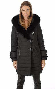 Doudoune Textile et Lapin Femme Noire1