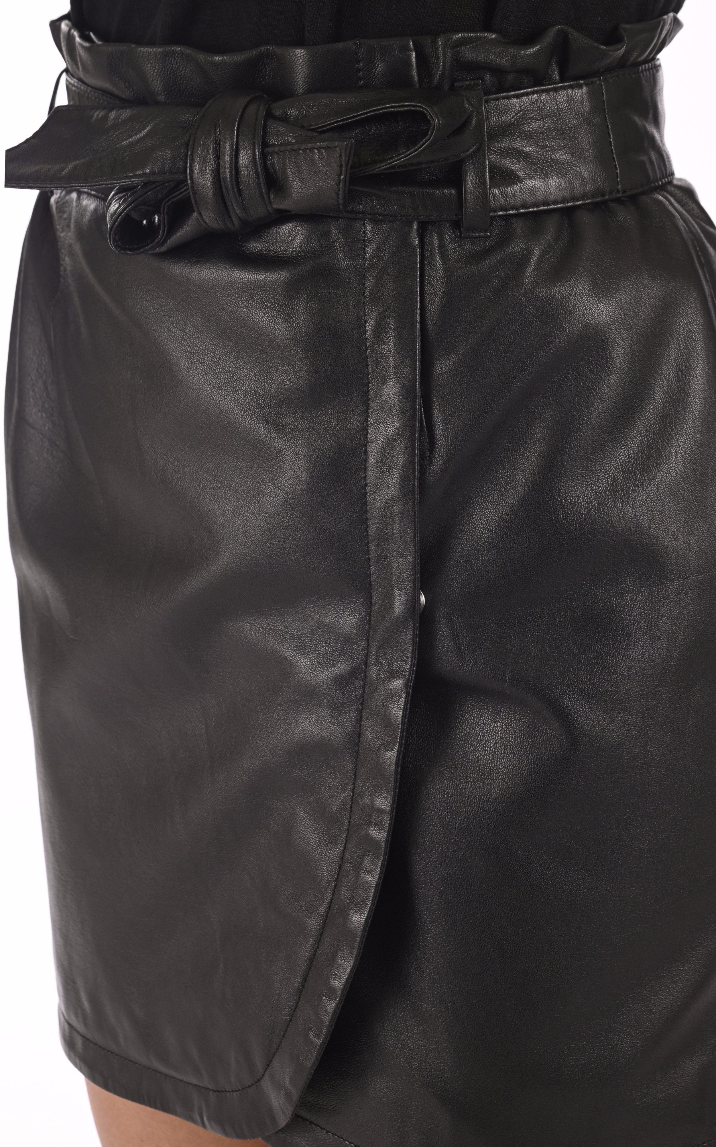 Jupe portefeuille cuir noir Oakwood