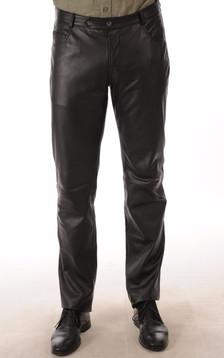Pantalon Cuir Agneau Noir Homme1