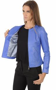 Blouson Cuir Bleu Coupe Spencer