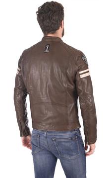 Blouson motard marron