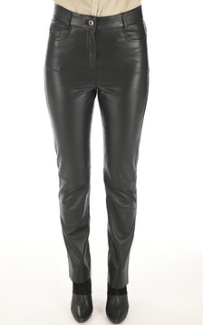 Pantalon Cuir Noir Coupe Droite