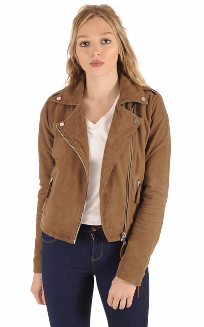 Blouson City Girl Cuir Velours Taupe Serge Pariente