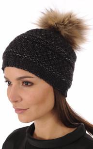 Bonnet Noir Laine avec Pompon Fourrure