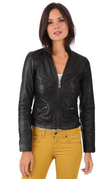 prix limité styles divers sélectionner pour dernier IKKS Femme – Blouson cuir, veste en cuir IKKS - La Canadienne