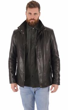 Veste cuir de vachette noir homme1