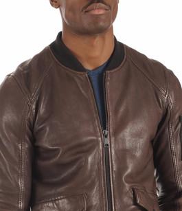 Blouson Teddy Cuir Bond Chocolat Redskins
