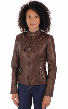 Blouson cuir marron femme1