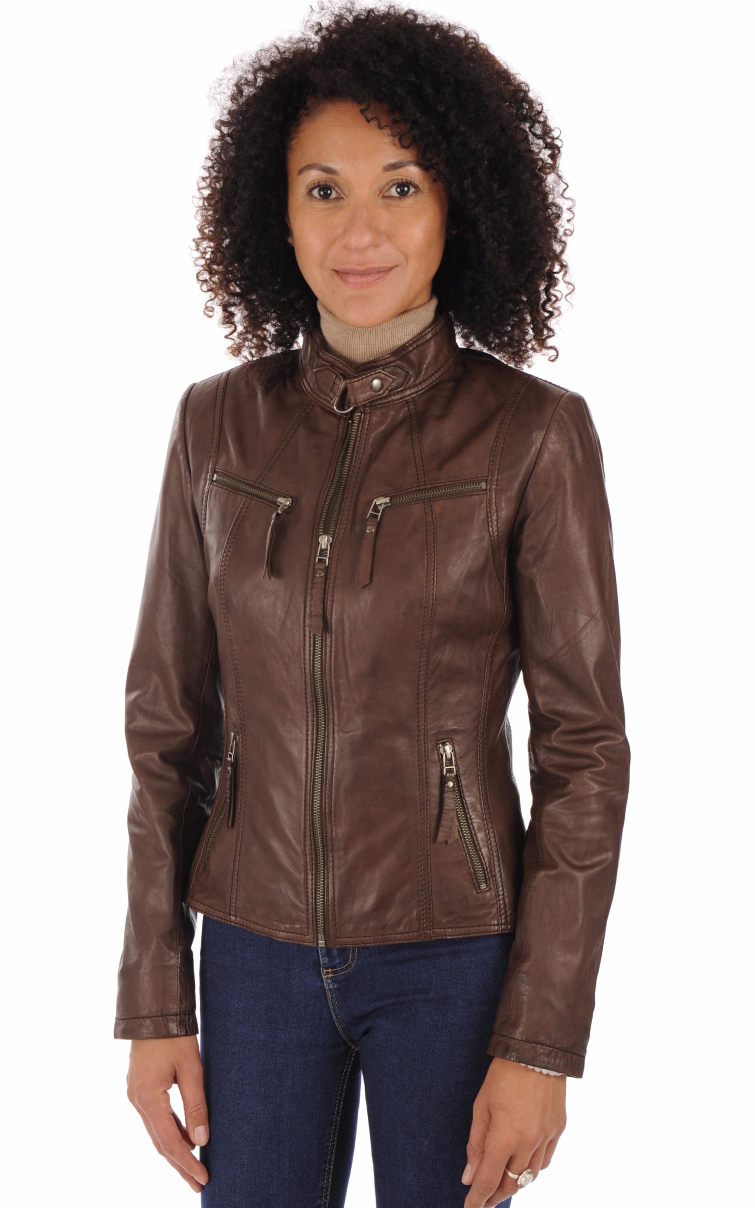 Blouson cuir marron femme La Canadienne