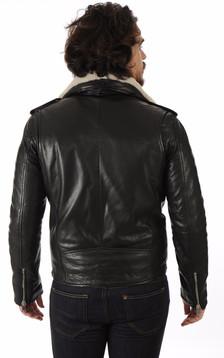 Blouson en cuir Rocker noir