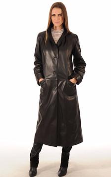 Manteau Long Cuir Femme Noir1