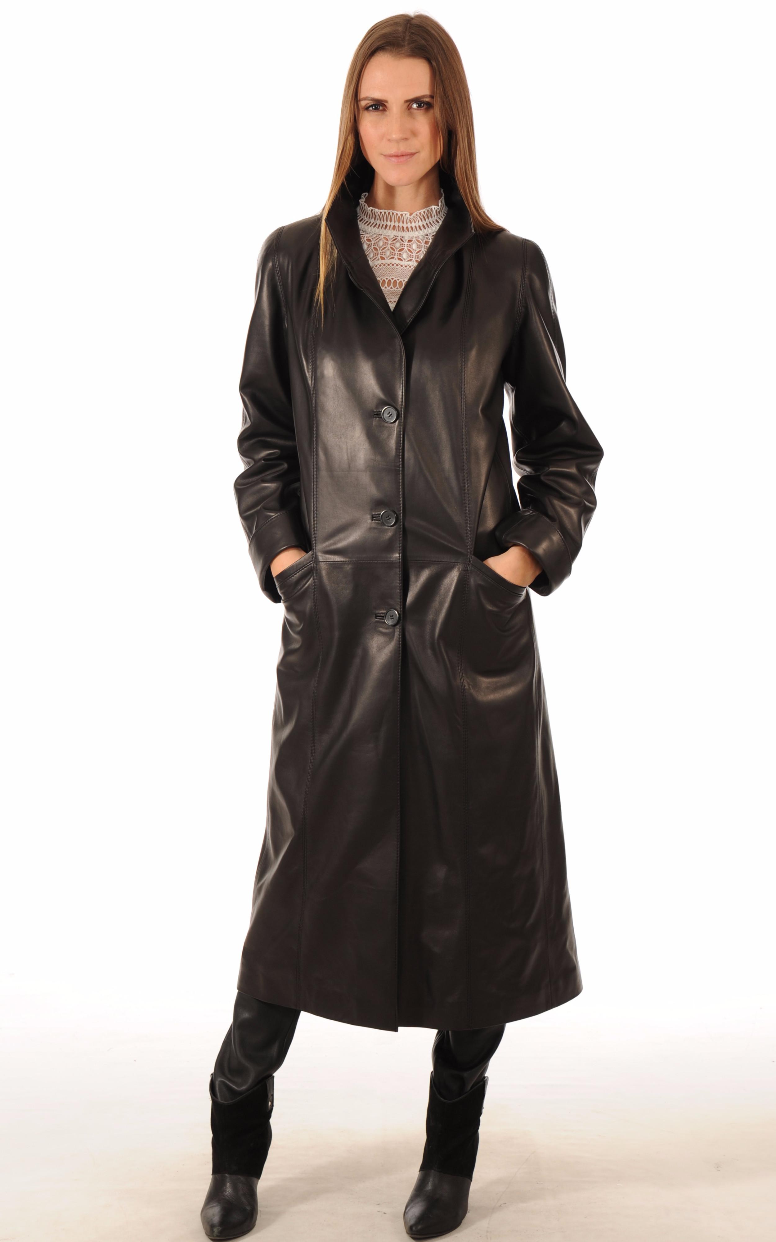 manteau long cuir femme noir la canadienne la canadienne manteau 7 8 cuir noir. Black Bedroom Furniture Sets. Home Design Ideas