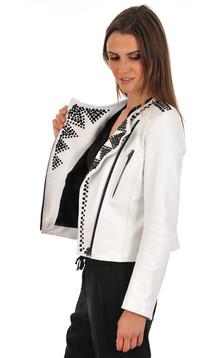 Veste Agneau Blanc Cloutée