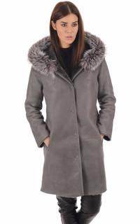 Manteau réversible mouton et renard gris
