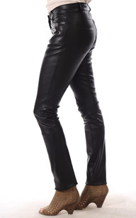 Pantalon Droit Cuir Femme