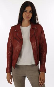 Blouson cuir rouge femme1