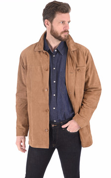 Veste cuir velours sable