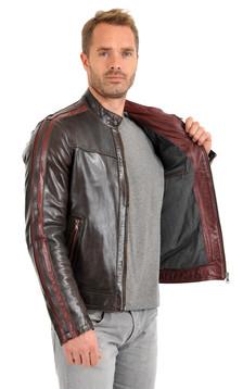 Blouson Cuir Homme Style Motard