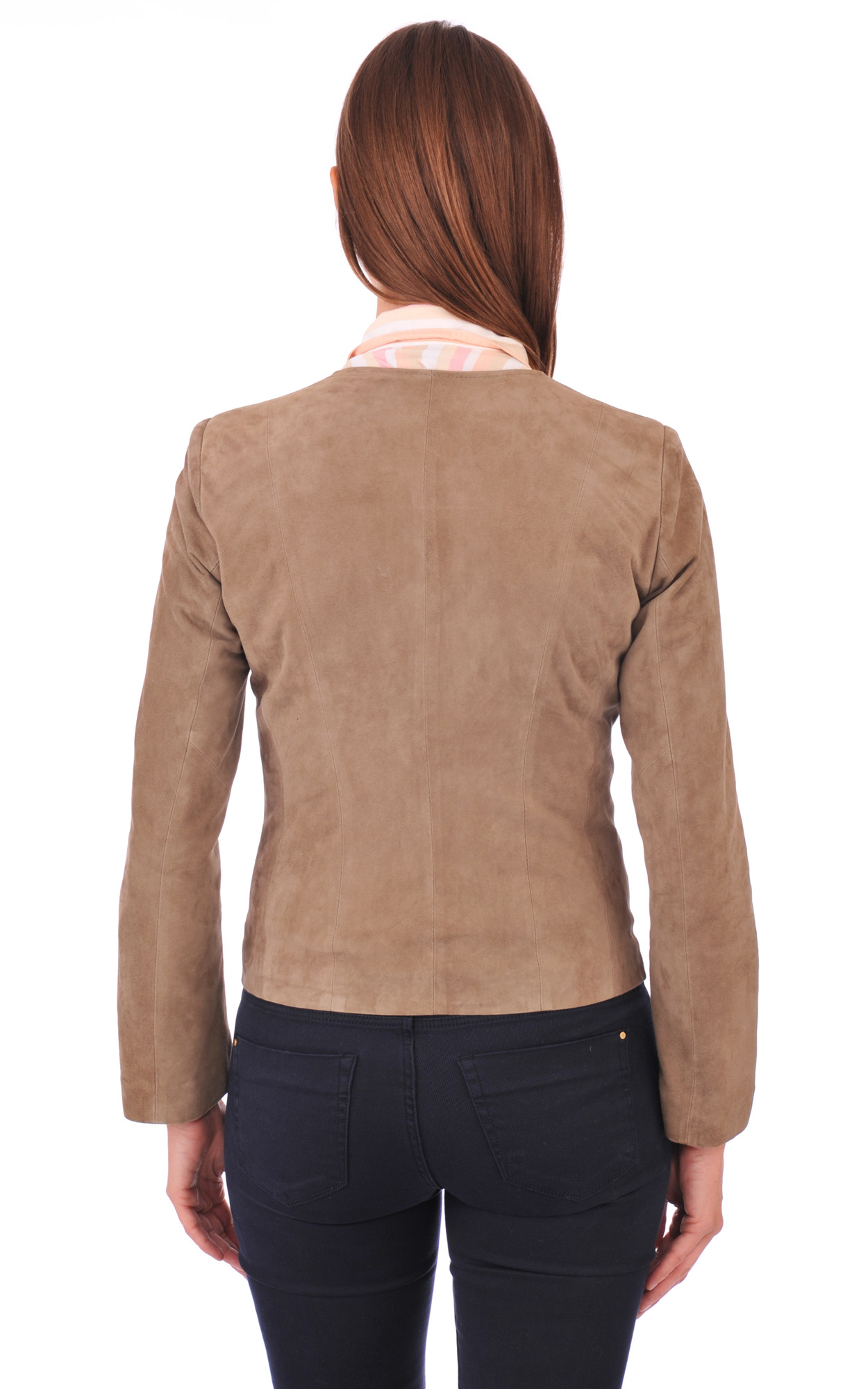 Blouson Aspect Daim Taupe Coupe Spencer