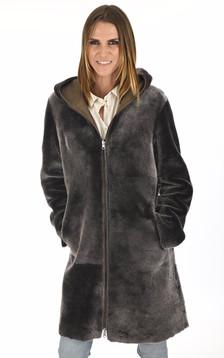 Manteau peau lainée bronze