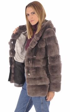 Veste en fourrure marron femme
