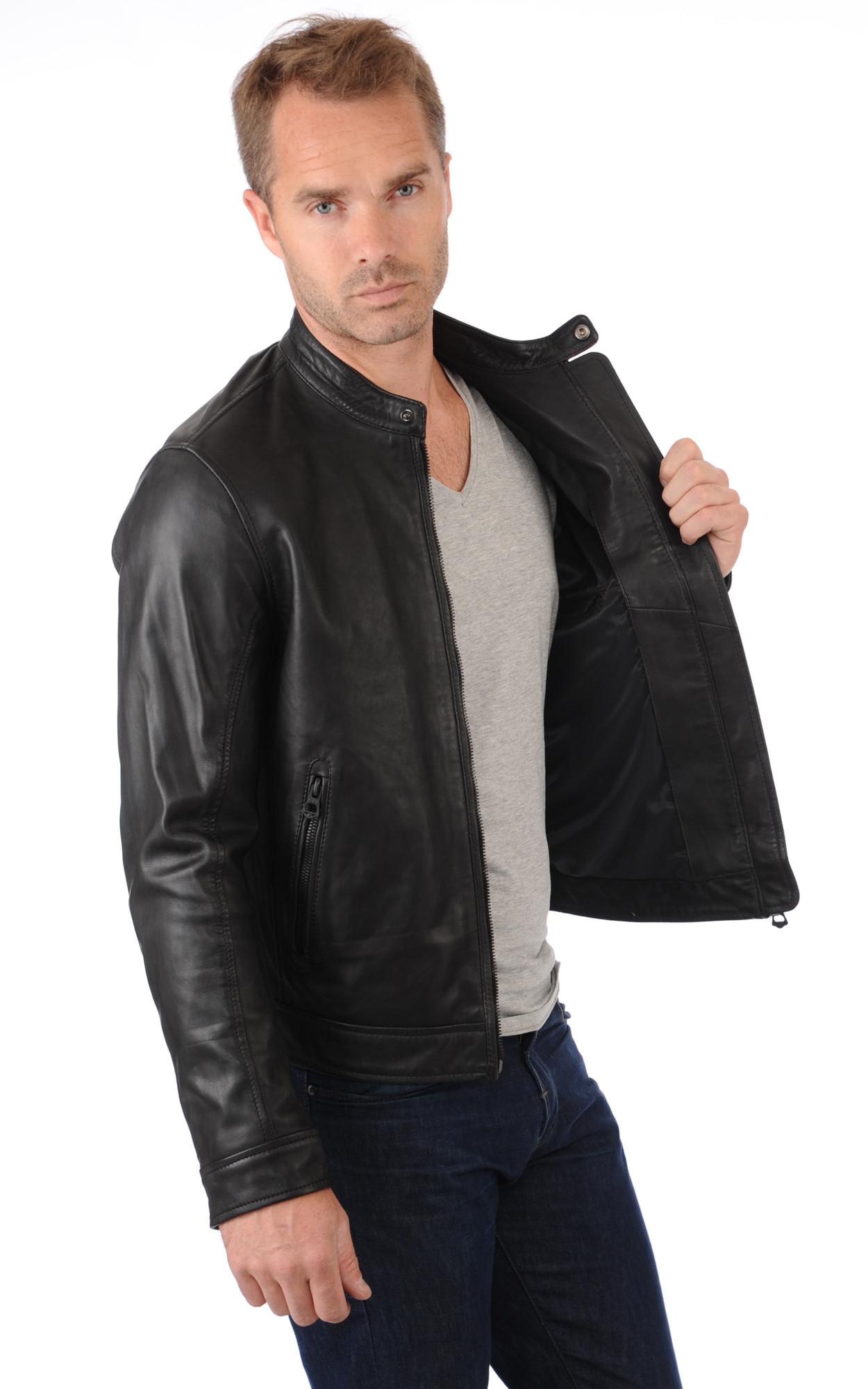 veste en cuir homme col mao les vestes la mode sont. Black Bedroom Furniture Sets. Home Design Ideas