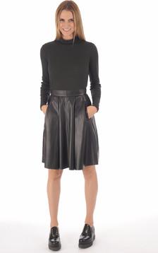 Jupe cuir agneau noire femme