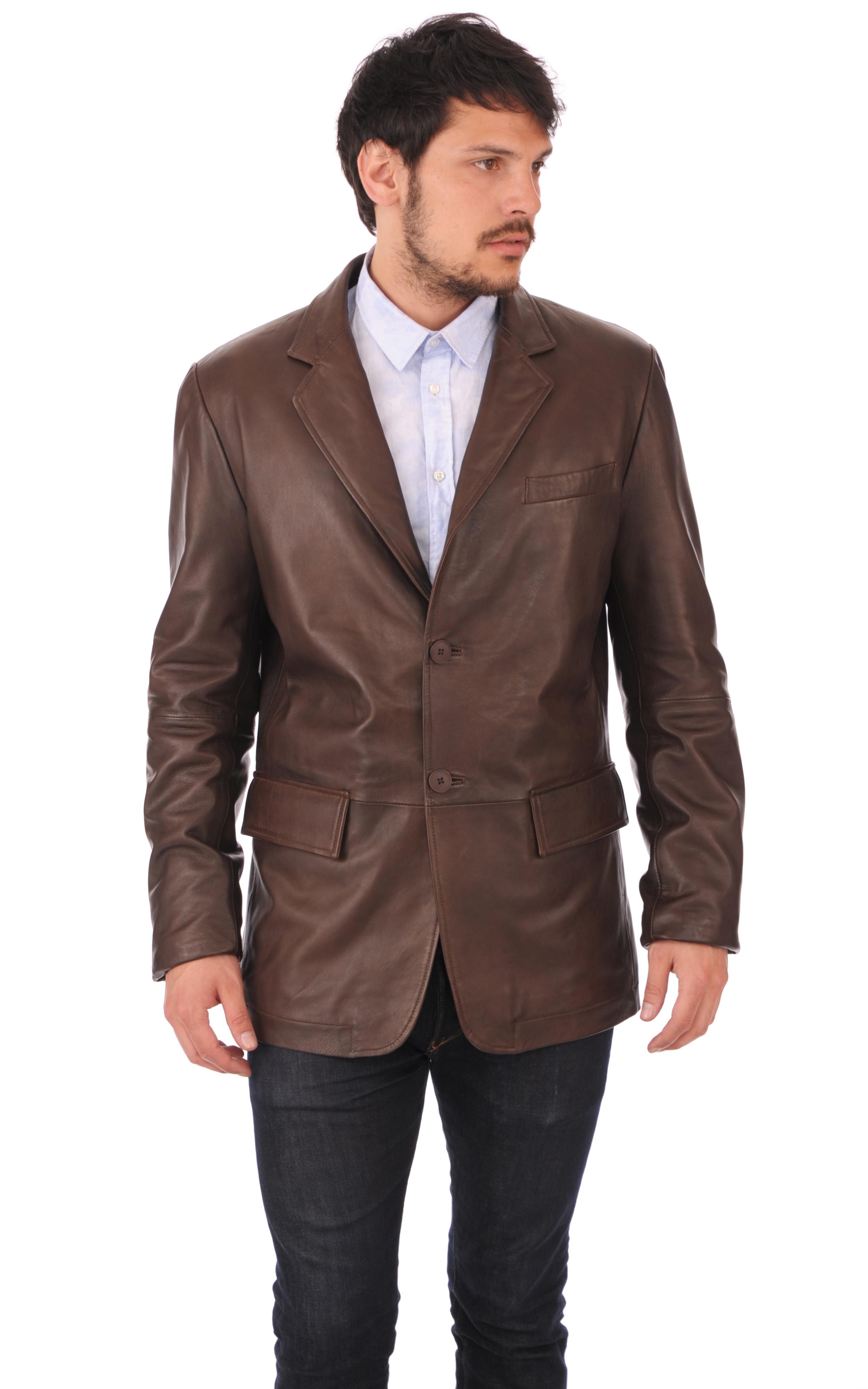 Blazer cuir marron homme monteregi la canadienne veste 3 4 cuir marron fonc - Blazer homme marron ...
