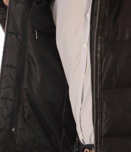 Doudoune Cuir Micro-perforé Noir Smarty