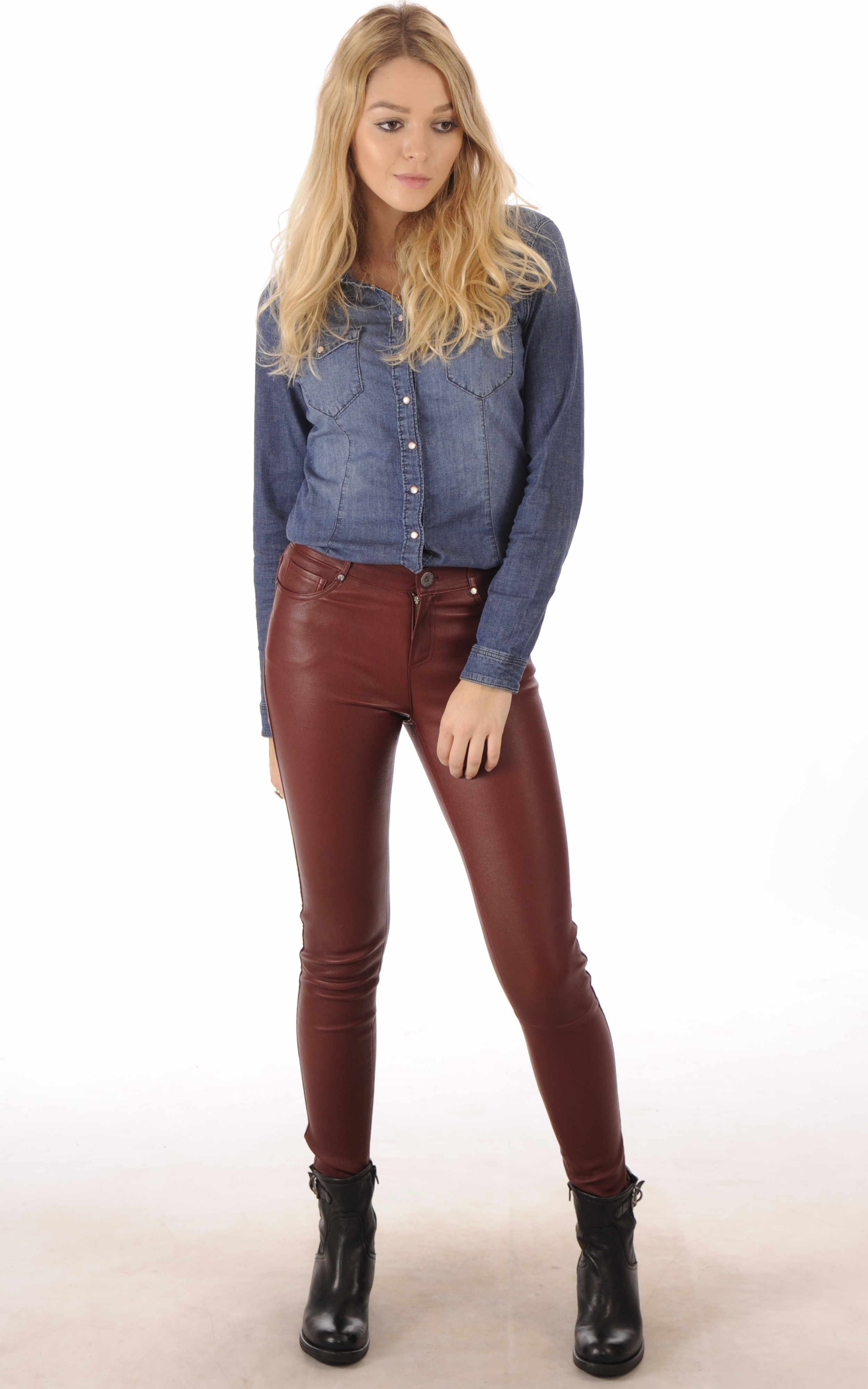 Pantalon agneau stretch bordeaux Oakwood