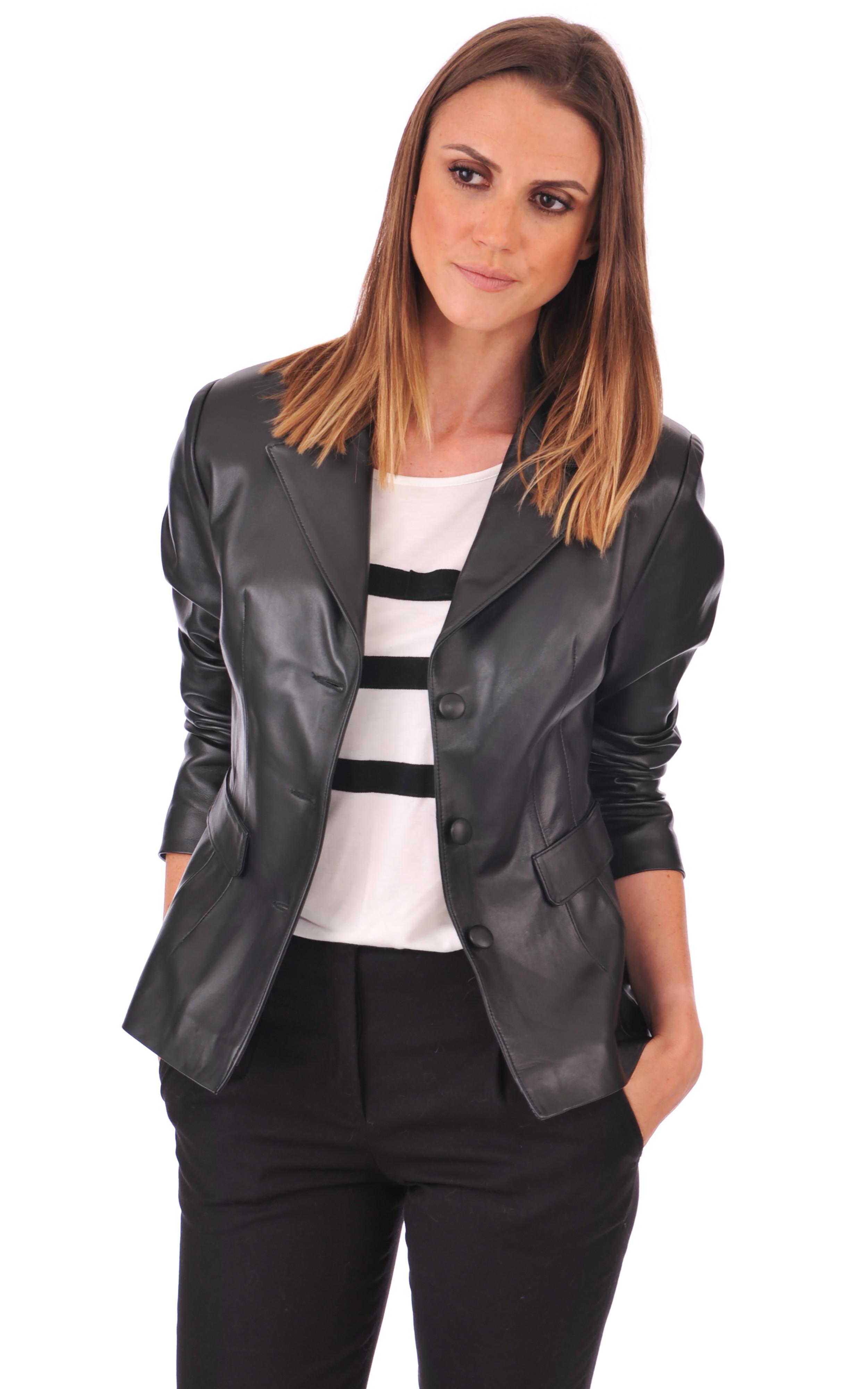 blazer cuir agneau femme la canadienne la canadienne veste 3 4 cuir noir. Black Bedroom Furniture Sets. Home Design Ideas