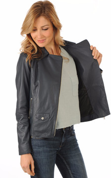 Blouson Cuir Marine Coupe Perf