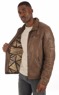 Blouson Cuir Chaud Taupe Homme