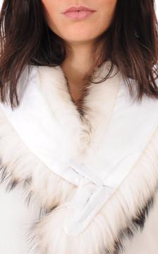 Col en Fourrure de Raccoon Gris et Blanc pour Femme