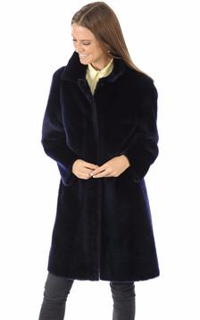 Manteau mérinos réversible bleu foncé